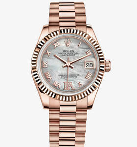 Macasamhail Rolex Datejust Watch Lady 31 : 18 CT Everose ór - M1
